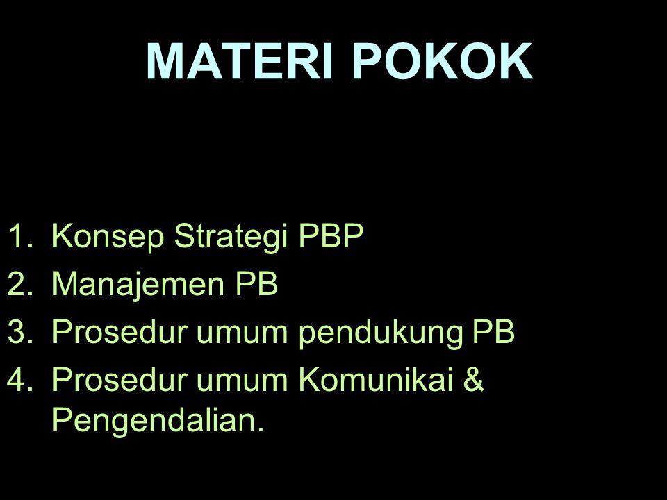 KOMPETENSI DASAR : Peserta memahami Konsep Strategi PB,Siklus (MANAJEMEN PB), Prosedur Umum Pendukung, Sistem Kominikasi & Pengendalian PB. INDIKATOR