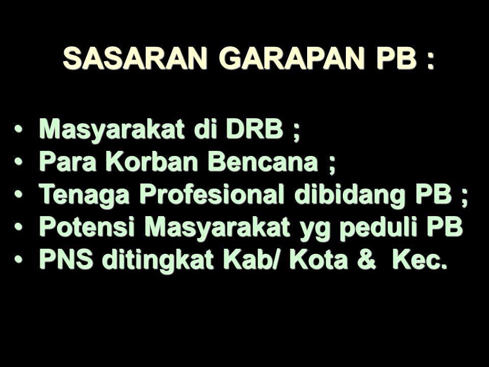 HAKEKAT PB PB Merupakan salah satu wujud dari upaya melindungi segenap Bangsa Indonesia ; Merupakan T,Jawab bersama antara Pemerintah Pusat dan Daerah