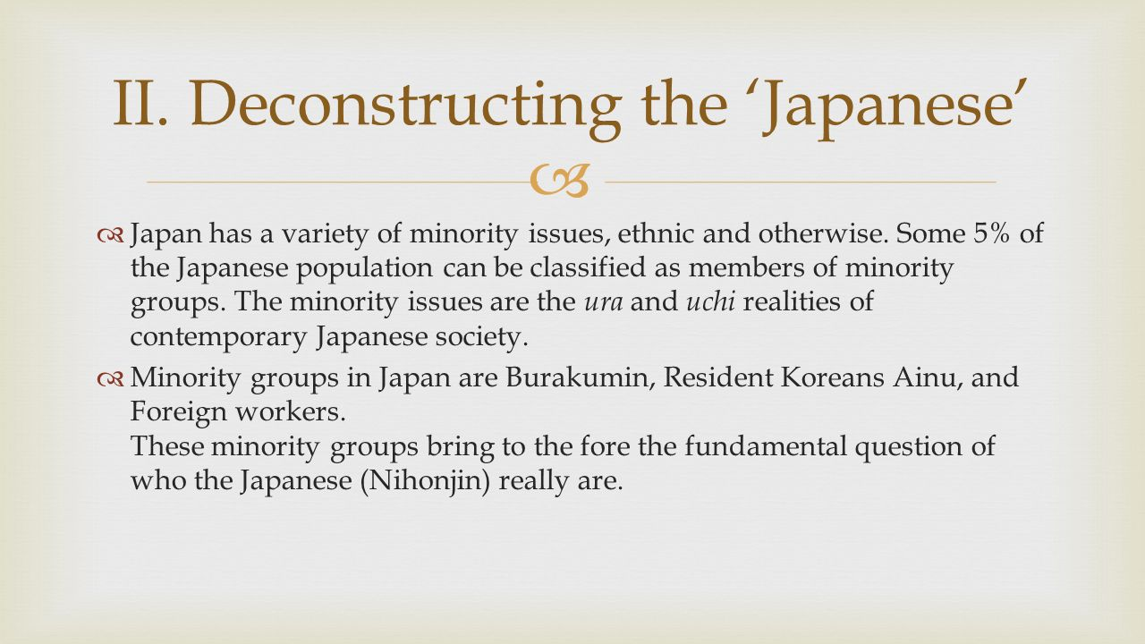   There are 7 aspects of Japaneseness: nationality, ethnic language competence, place of birth, current residence, subjective identity, and level of cultural literacy.