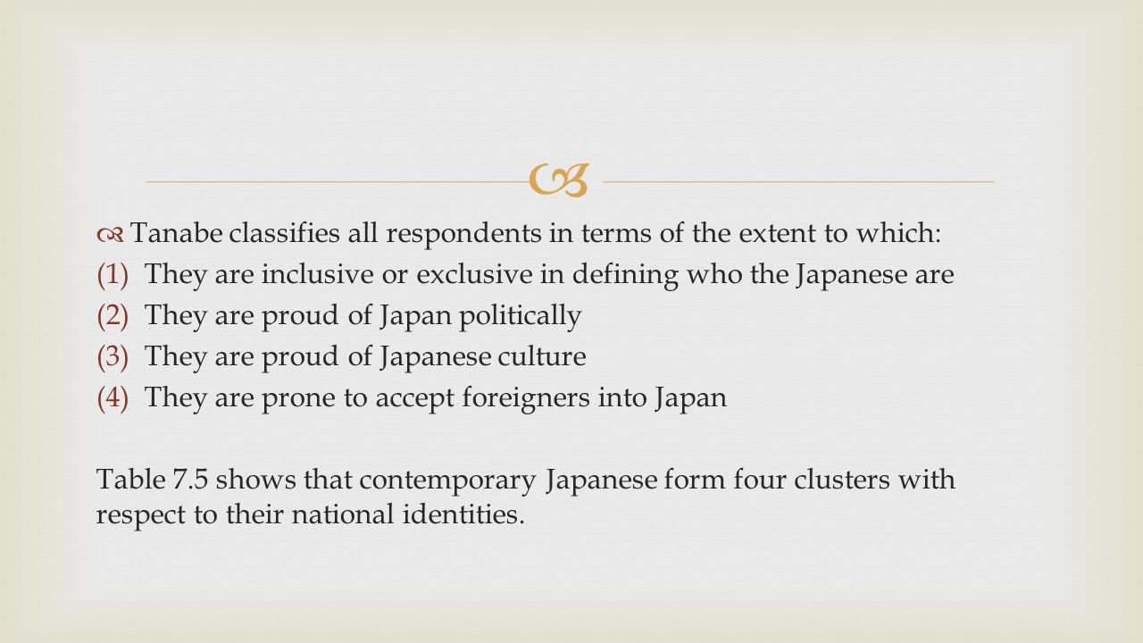   Tanabe classifies all respondents in terms of the extent to which: (1)They are inclusive or exclusive in defining who the Japanese are (2)They are proud of Japan politically (3)They are proud of Japanese culture (4)They are prone to accept foreigners into Japan Table 7.5 shows that contemporary Japanese form four clusters with respect to their national identities.