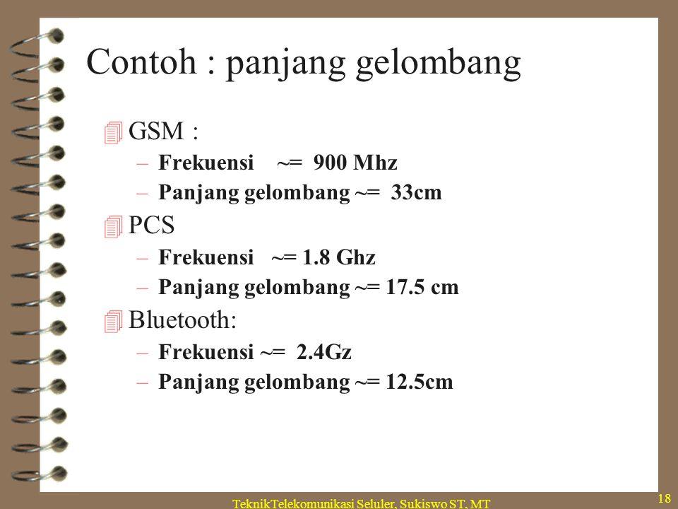 TeknikTelekomunikasi Seluler, Sukiswo ST, MT 18 Contoh : panjang gelombang  GSM : –Frekuensi ~= 900 Mhz –Panjang gelombang ~= 33cm  PCS –Frekuensi ~= 1.8 Ghz –Panjang gelombang ~= 17.5 cm  Bluetooth: –Frekuensi ~= 2.4Gz –Panjang gelombang ~= 12.5cm