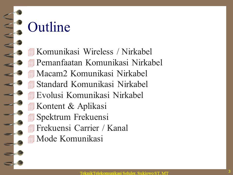 TeknikTelekomunikasi Seluler, Sukiswo ST, MT 3 Outline  Komunikasi Wireless / Nirkabel  Pemanfaatan Komunikasi Nirkabel  Macam2 Komunikasi Nirkabel  Standard Komunikasi Nirkabel  Evolusi Komunikasi Nirkabel  Kontent & Aplikasi  Spektrum Frekuensi  Frekuensi Carrier / Kanal  Mode Komunikasi