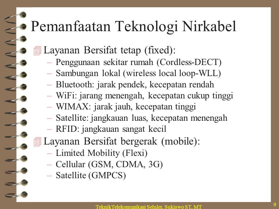 TeknikTelekomunikasi Seluler, Sukiswo ST, MT 9 Pemanfaatan Teknologi Nirkabel  Layanan Bersifat tetap (fixed): –Penggunaan sekitar rumah (Cordless-DECT) –Sambungan lokal (wireless local loop-WLL) –Bluetooth: jarak pendek, kecepatan rendah –WiFi: jarang menengah, kecepatan cukup tinggi –WIMAX: jarak jauh, kecepatan tinggi –Satellite: jangkauan luas, kecepatan menengah –RFID: jangkauan sangat kecil  Layanan Bersifat bergerak (mobile): –Limited Mobility (Flexi) –Cellular (GSM, CDMA, 3G) –Satellite (GMPCS)