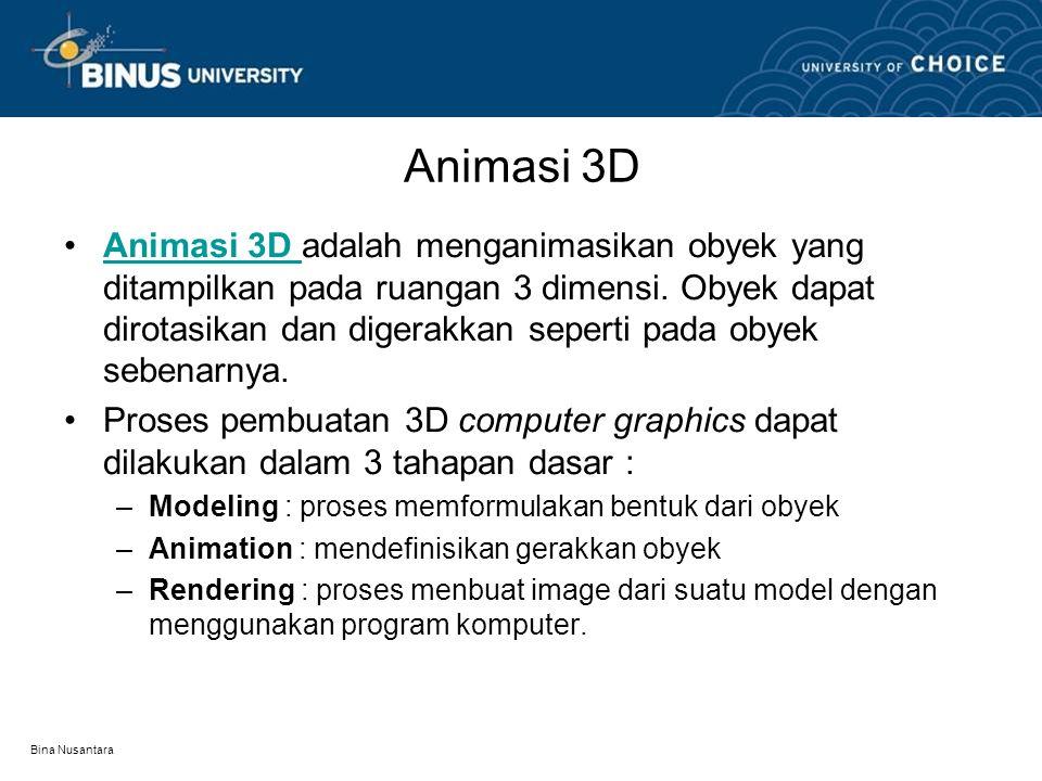 Bina Nusantara Animasi 3D Animasi 3D adalah menganimasikan obyek yang ditampilkan pada ruangan 3 dimensi.