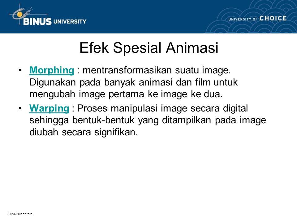 Bina Nusantara Efek Spesial Animasi Morphing : mentransformasikan suatu image.