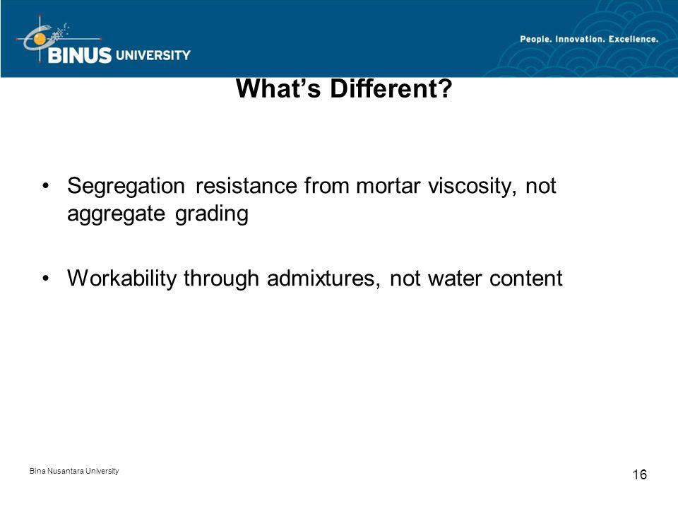 Bina Nusantara University 16 What's Different? Segregation resistance from mortar viscosity, not aggregate grading Workability through admixtures, not