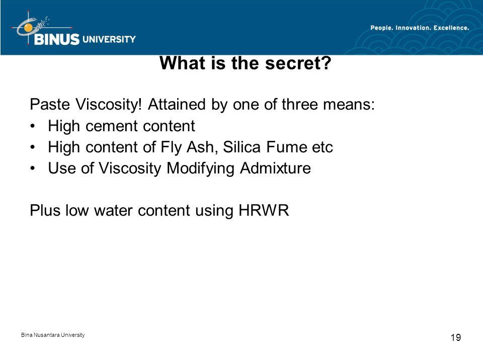 Bina Nusantara University 19 What is the secret.Paste Viscosity.