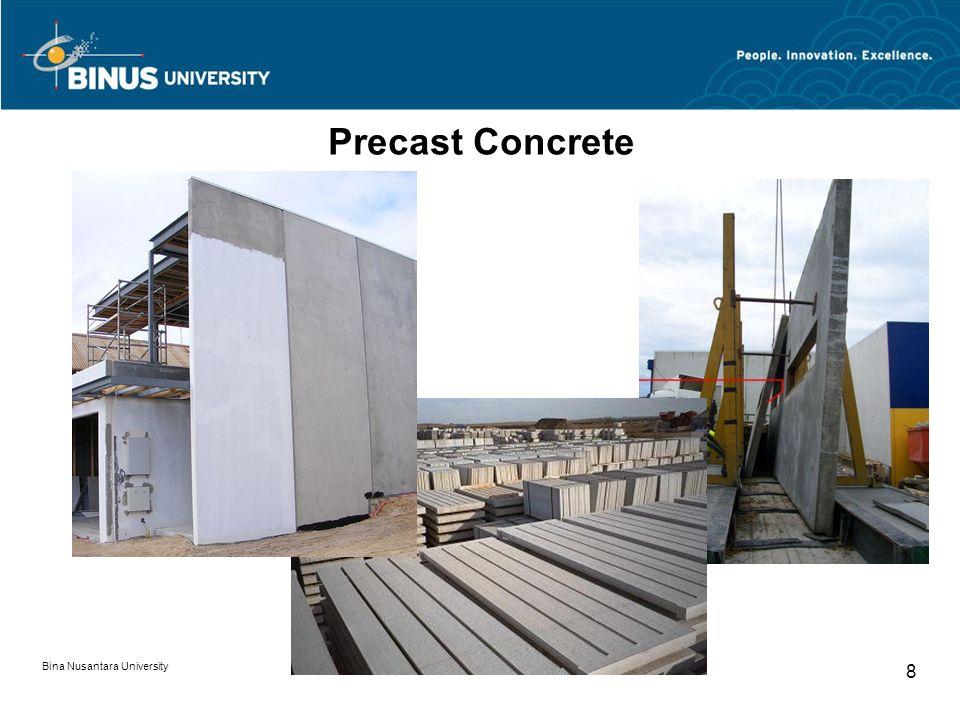 Bina Nusantara University 9 Fiber Concrete Fiber reinforced concrete (FRC) is concrete containing fibrous material which increases its structural integrity.