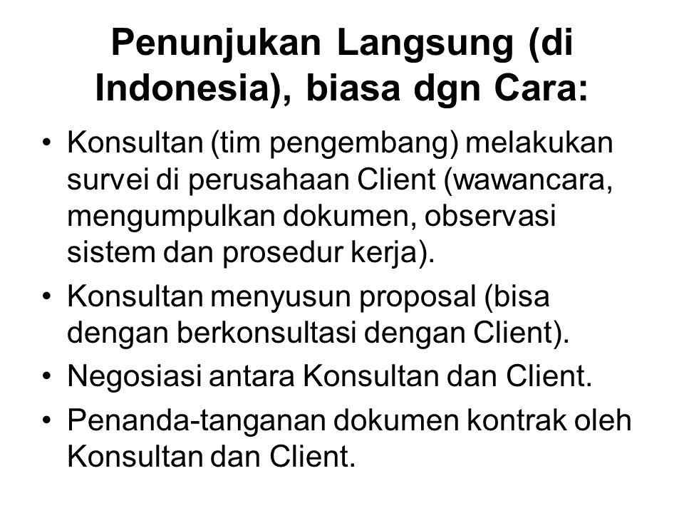Penunjukan Langsung (di Indonesia), biasa dgn Cara: Konsultan (tim pengembang) melakukan survei di perusahaan Client (wawancara, mengumpulkan dokumen,