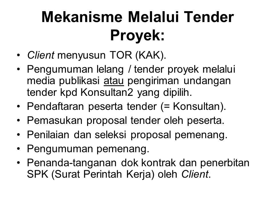 Mekanisme Melalui Tender Proyek: Client menyusun TOR (KAK). Pengumuman lelang / tender proyek melalui media publikasi atau pengiriman undangan tender