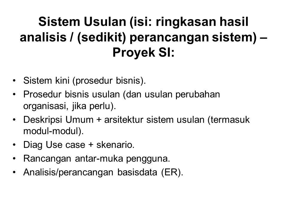 Sistem Usulan (isi: ringkasan hasil analisis / (sedikit) perancangan sistem) – Proyek SI: Sistem kini (prosedur bisnis). Prosedur bisnis usulan (dan u