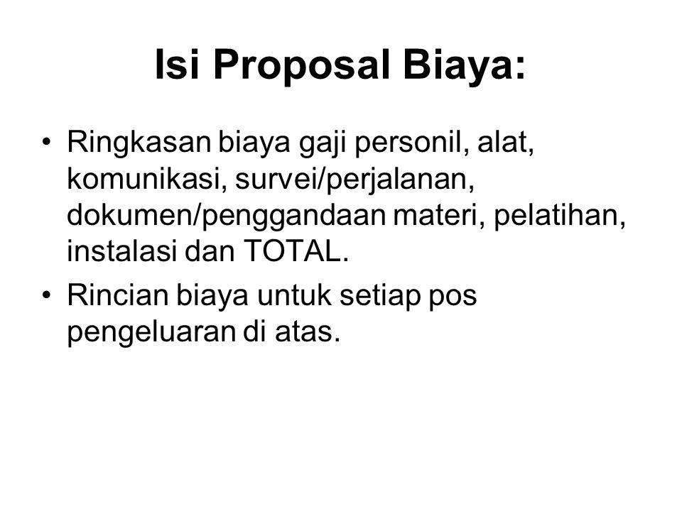Isi Proposal Biaya: Ringkasan biaya gaji personil, alat, komunikasi, survei/perjalanan, dokumen/penggandaan materi, pelatihan, instalasi dan TOTAL. Ri