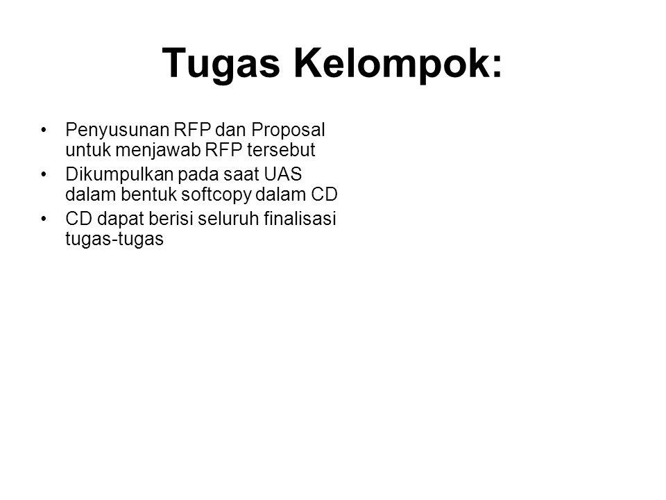 Tugas Kelompok: Penyusunan RFP dan Proposal untuk menjawab RFP tersebut Dikumpulkan pada saat UAS dalam bentuk softcopy dalam CD CD dapat berisi selur