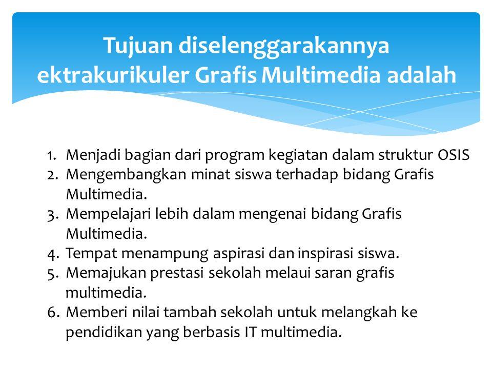 Tujuan diselenggarakannya ektrakurikuler Grafis Multimedia adalah 1.Menjadi bagian dari program kegiatan dalam struktur OSIS 2.Mengembangkan minat siswa terhadap bidang Grafis Multimedia.