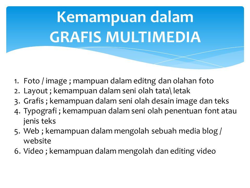 Kemampuan dalam GRAFIS MULTIMEDIA 1.Foto / image ; mampuan dalam editng dan olahan foto 2.Layout ; kemampuan dalam seni olah tata\ letak 3.Grafis ; kemampuan dalam seni olah desain image dan teks 4.Typografi ; kemampuan dalam seni olah penentuan font atau jenis teks 5.Web ; kemampuan dalam mengolah sebuah media blog / website 6.Video ; kemampuan dalam mengolah dan editing video