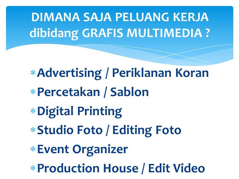 AA dvertising / Periklanan Koran Sebuah Job Kerja di perusahaan media Iklan / Surat Kabar menjadi target bagi mereka yang sudah mempunyai skill penguasaan CorelDraw, Adobe Photshop.