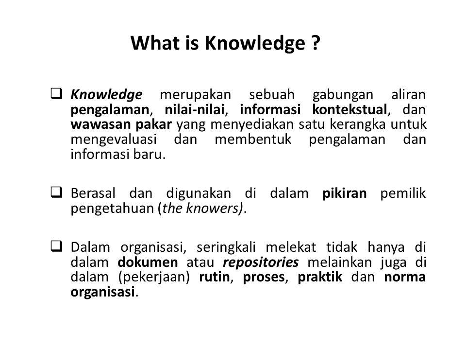  Knowledge merupakan sebuah gabungan aliran pengalaman, nilai-nilai, informasi kontekstual, dan wawasan pakar yang menyediakan satu kerangka untuk mengevaluasi dan membentuk pengalaman dan informasi baru.