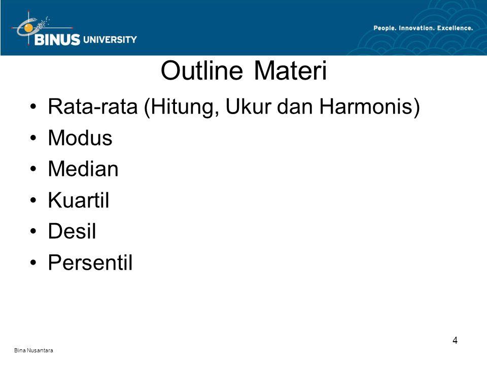 Bina Nusantara Outline Materi 4 Rata-rata (Hitung, Ukur dan Harmonis) Modus Median Kuartil Desil Persentil