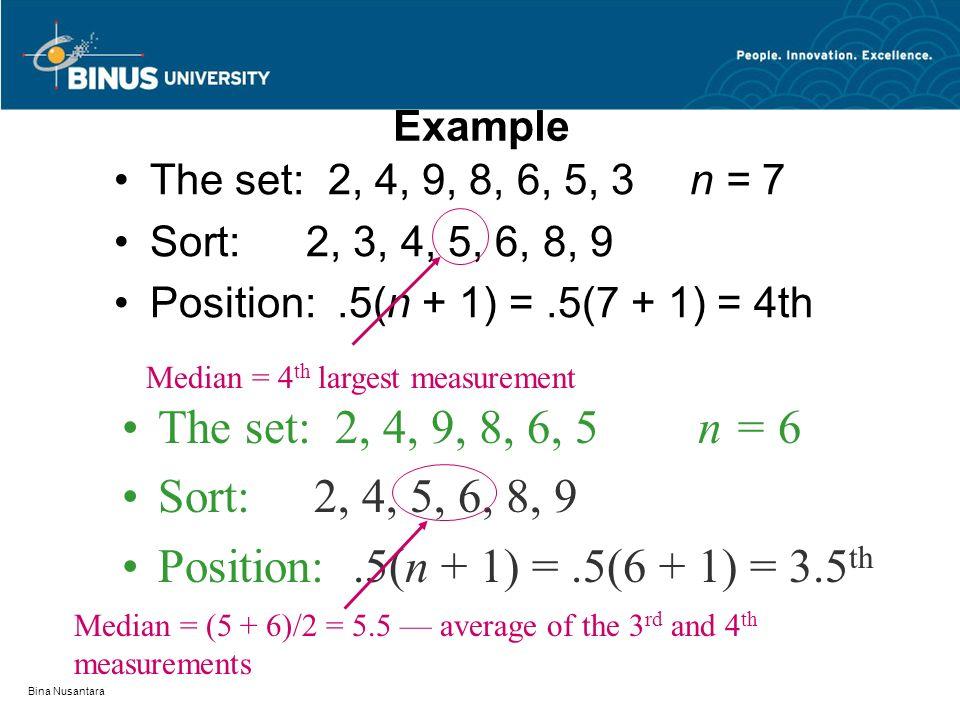 Bina Nusantara Example The set: 2, 4, 9, 8, 6, 5, 3n = 7 Sort:2, 3, 4, 5, 6, 8, 9 Position:.5(n + 1) =.5(7 + 1) = 4th Median = 4 th largest measurement The set: 2, 4, 9, 8, 6, 5n = 6 Sort:2, 4, 5, 6, 8, 9 Position:.5(n + 1) =.5(6 + 1) = 3.5 th Median = (5 + 6)/2 = 5.5 — average of the 3 rd and 4 th measurements