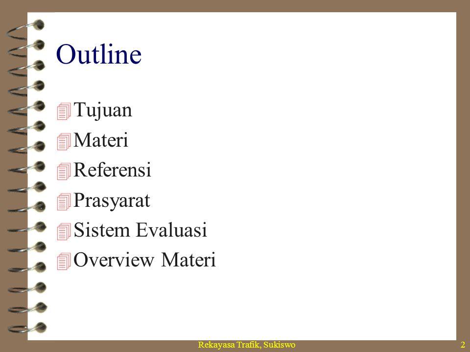 Rekayasa Trafik, Sukiswo2 Outline  Tujuan  Materi  Referensi  Prasyarat  Sistem Evaluasi  Overview Materi