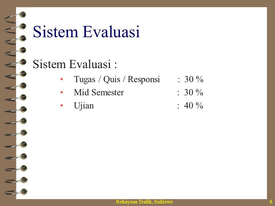 Rekayasa Trafik, Sukiswo8 Sistem Evaluasi Sistem Evaluasi : Tugas / Quis / Responsi : 30 % Mid Semester : 30 % Ujian : 40 %