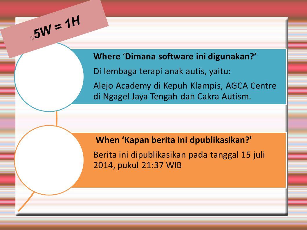 Where 'Dimana software ini digunakan?' Di lembaga terapi anak autis, yaitu: Alejo Academy di Kepuh Klampis, AGCA Centre di Ngagel Jaya Tengah dan Cakr