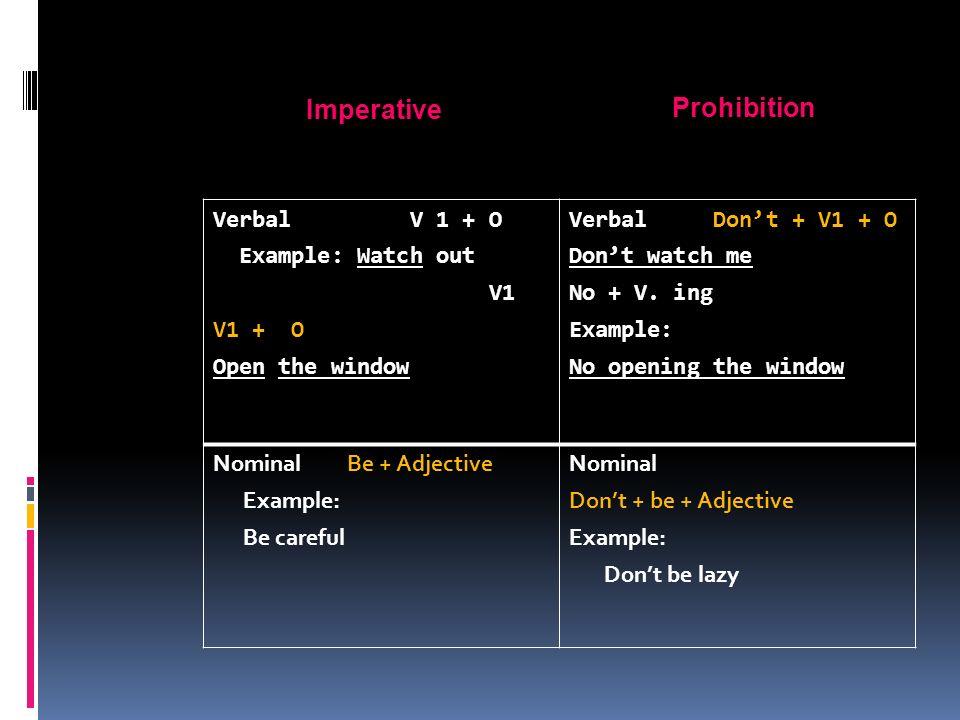 Imperative Prohibition Verbal V 1 + O Example: Watch out V1 V1 + O Open the window Verbal Don't + V1 + O Don't watch me No + V.