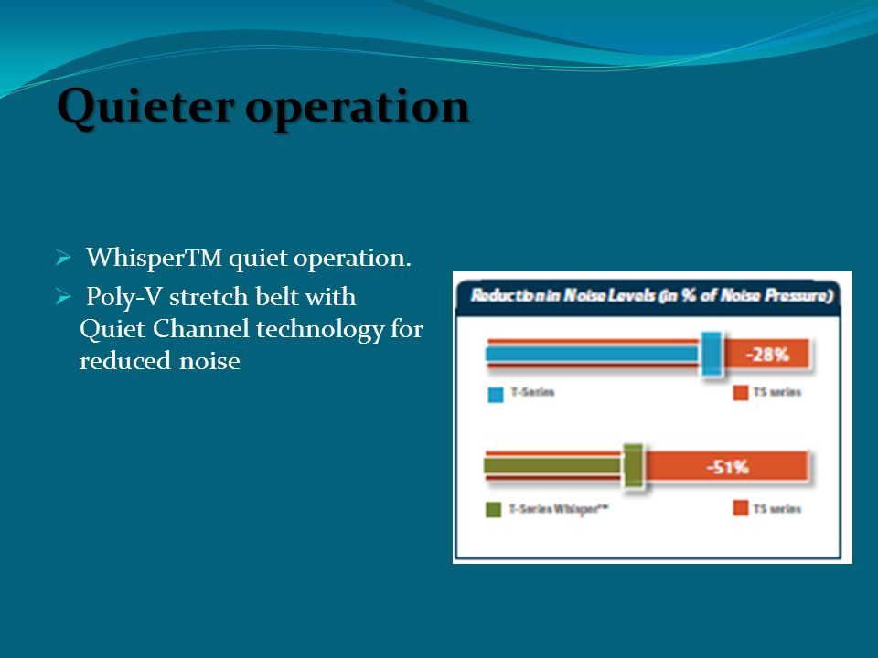 Quieter operation  Whisper TM quiet operation.