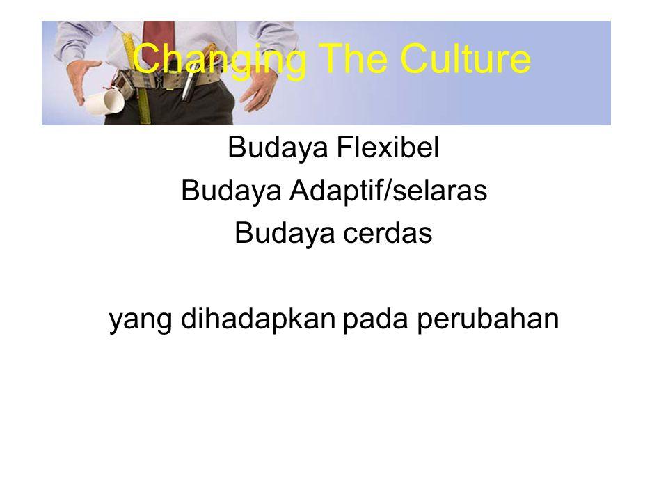Budaya Flexibel Budaya Adaptif/selaras Budaya cerdas yang dihadapkan pada perubahan Changing The Culture