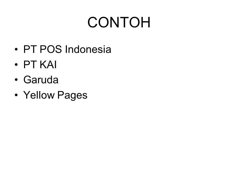 CONTOH PT POS Indonesia PT KAI Garuda Yellow Pages
