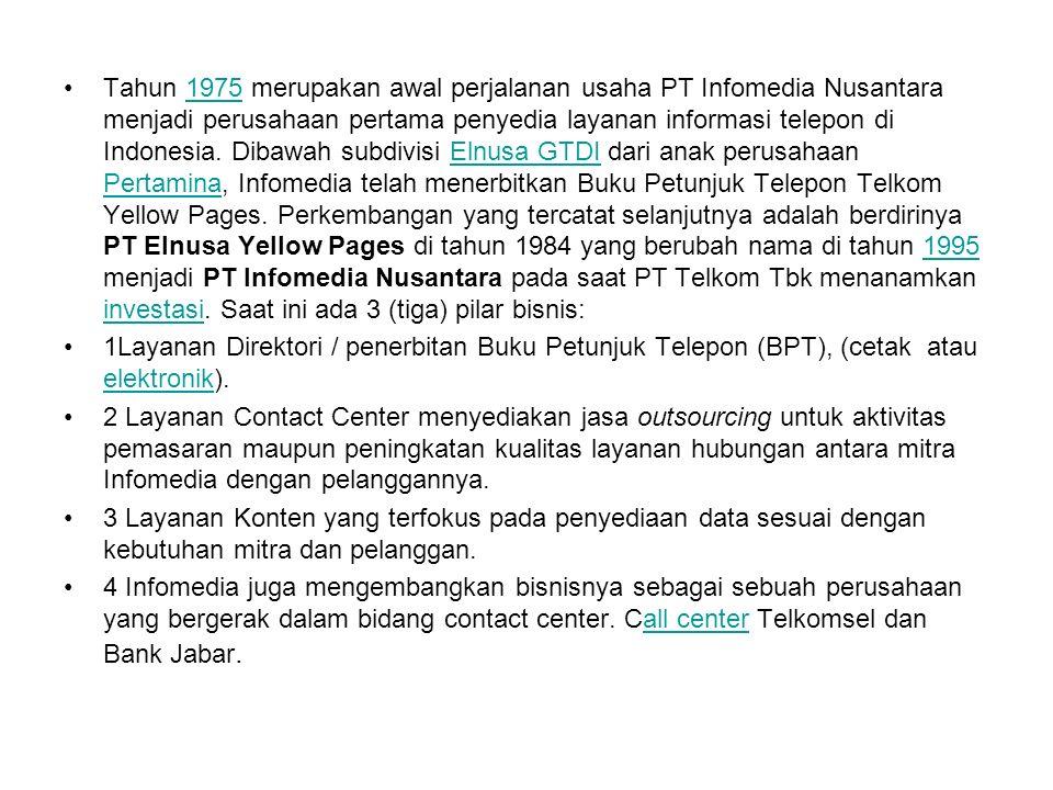 Tahun 1975 merupakan awal perjalanan usaha PT Infomedia Nusantara menjadi perusahaan pertama penyedia layanan informasi telepon di Indonesia. Dibawah