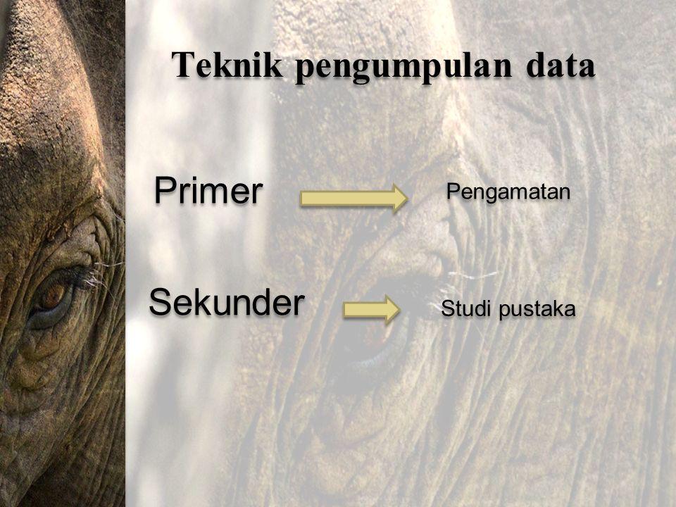 Teknik pengumpulan data Primer Sekunder Pengamatan Studi pustaka