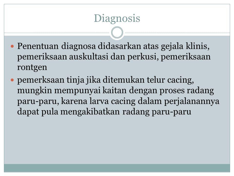 Diagnosis Penentuan diagnosa didasarkan atas gejala klinis, pemeriksaan auskultasi dan perkusi, pemeriksaan rontgen pemerksaan tinja jika ditemukan te