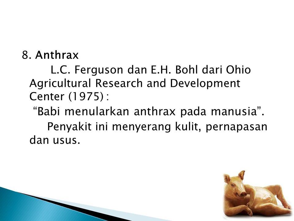 """8. Anthrax L.C. Ferguson dan E.H. Bohl dari Ohio Agricultural Research and Development Center (1975): """"Babi menularkan anthrax pada manusia"""". Penyakit"""