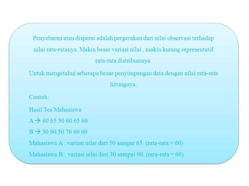 Penyebaran atau dispersi adalah pergerakan dari nilai observasi terhadap nilai rata-ratanya.