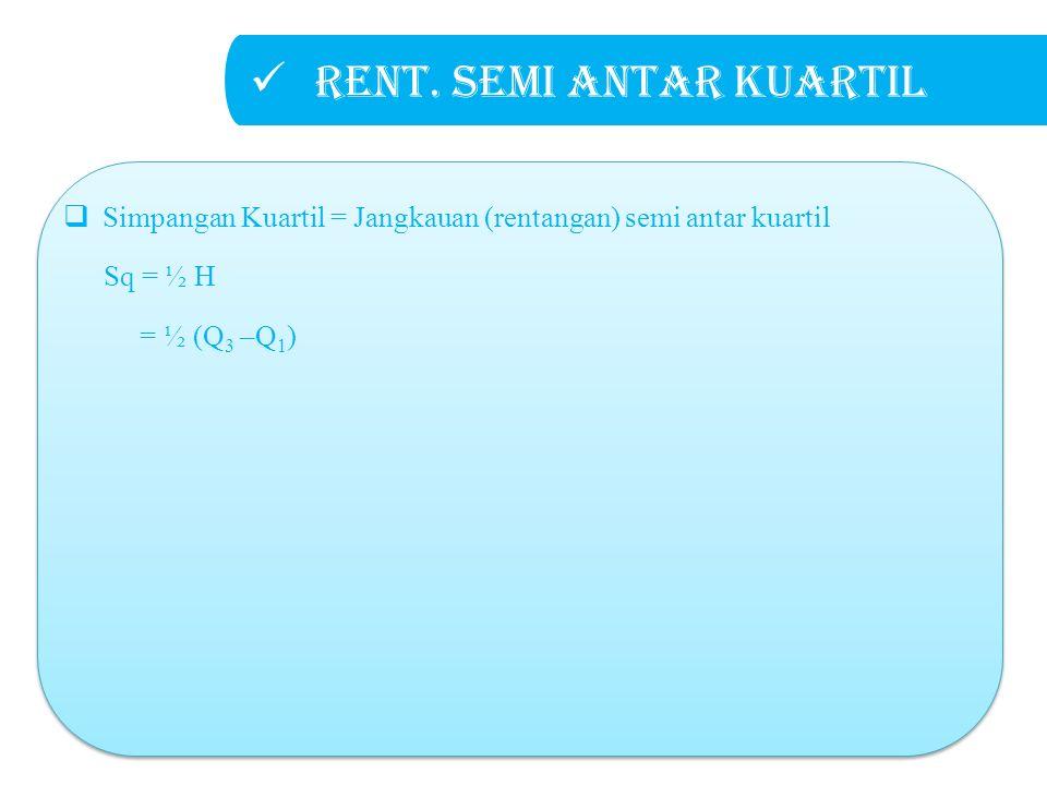 Rent. semi antar kuartil  Simpangan Kuartil = Jangkauan (rentangan) semi antar kuartil Sq = ½ H = ½ (Q 3 –Q 1 )