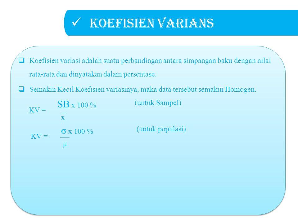 Koefisien varians KV = σ x 100 % (untuk populasi) μ  Koefisien variasi adalah suatu perbandingan antara simpangan baku dengan nilai rata-rata dan dinyatakan dalam persentase.