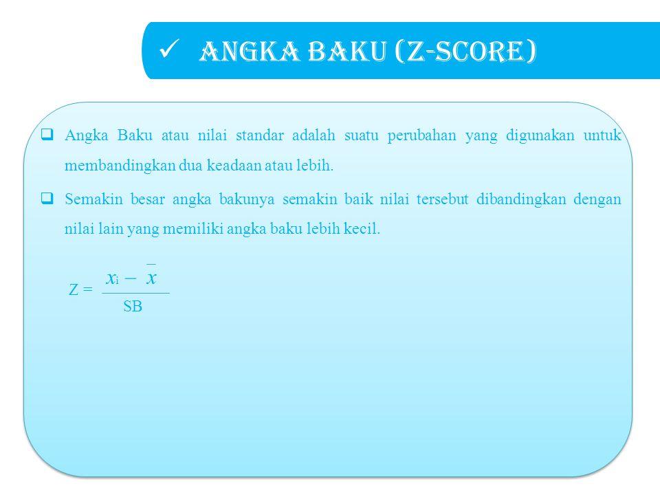 Angka baku (Z-score)  Angka Baku atau nilai standar adalah suatu perubahan yang digunakan untuk membandingkan dua keadaan atau lebih.  Semakin besar