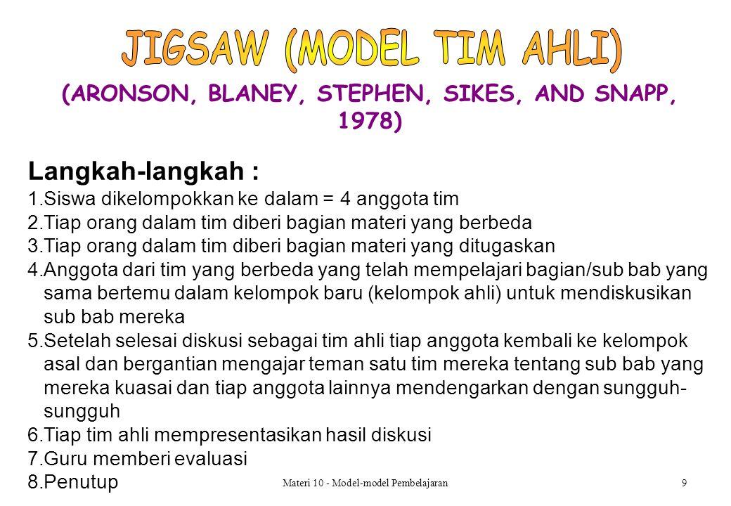 (ARONSON, BLANEY, STEPHEN, SIKES, AND SNAPP, 1978) Materi 10 - Model-model Pembelajaran9 Langkah-langkah : 1.Siswa dikelompokkan ke dalam = 4 anggota tim 2.Tiap orang dalam tim diberi bagian materi yang berbeda 3.Tiap orang dalam tim diberi bagian materi yang ditugaskan 4.Anggota dari tim yang berbeda yang telah mempelajari bagian/sub bab yang sama bertemu dalam kelompok baru (kelompok ahli) untuk mendiskusikan sub bab mereka 5.Setelah selesai diskusi sebagai tim ahli tiap anggota kembali ke kelompok asal dan bergantian mengajar teman satu tim mereka tentang sub bab yang mereka kuasai dan tiap anggota lainnya mendengarkan dengan sungguh- sungguh 6.Tiap tim ahli mempresentasikan hasil diskusi 7.Guru memberi evaluasi 8.Penutup