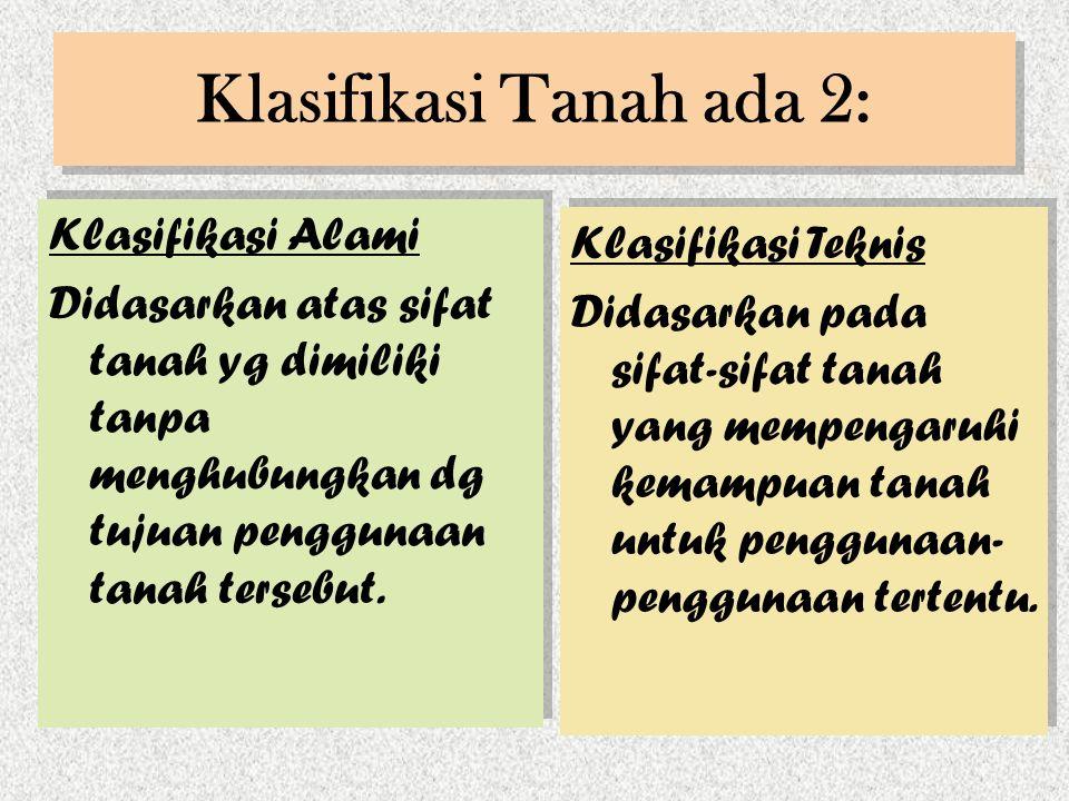 Klasifikasi Tanah ada 2: Klasifikasi Alami Didasarkan atas sifat tanah yg dimiliki tanpa menghubungkan dg tujuan penggunaan tanah tersebut.
