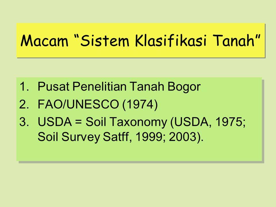 "Macam ""Sistem Klasifikasi Tanah"" 1.Pusat Penelitian Tanah Bogor 2.FAO/UNESCO (1974) 3.USDA = Soil Taxonomy (USDA, 1975; Soil Survey Satff, 1999; 2003)"
