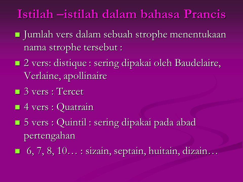 Istilah –istilah dalam bahasa Prancis Jumlah vers dalam sebuah strophe menentukaan nama strophe tersebut : Jumlah vers dalam sebuah strophe menentukaa