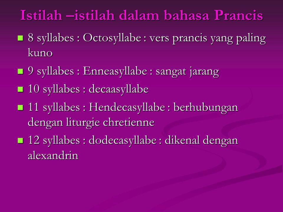 Istilah –istilah dalam bahasa Prancis 8 syllabes : Octosyllabe : vers prancis yang paling kuno 8 syllabes : Octosyllabe : vers prancis yang paling kun