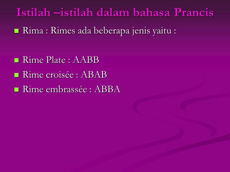 Istilah –istilah dalam bahasa Prancis Rima : Rimes ada beberapa jenis yaitu : Rima : Rimes ada beberapa jenis yaitu : Rime Plate : AABB Rime Plate : A