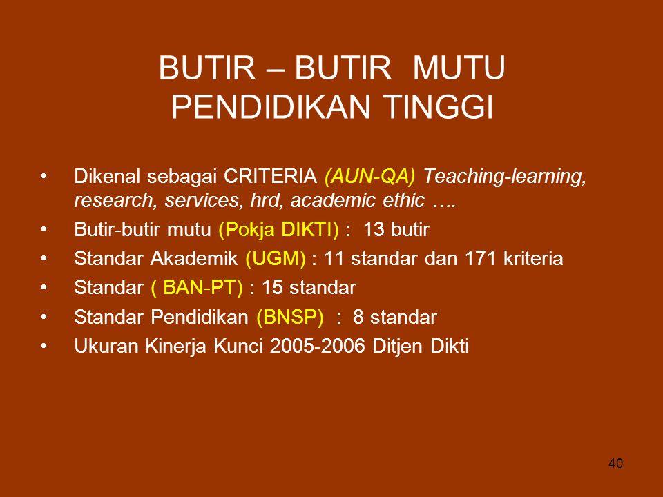 40 BUTIR – BUTIR MUTU PENDIDIKAN TINGGI Dikenal sebagai CRITERIA (AUN-QA) Teaching-learning, research, services, hrd, academic ethic …. Butir-butir mu