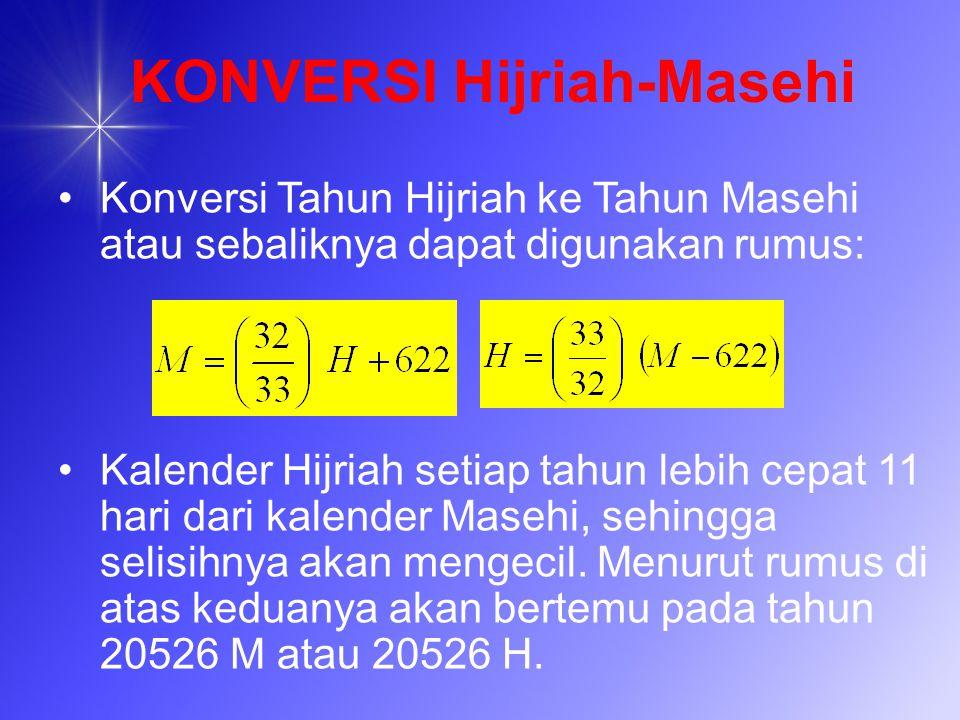 KONVERSI Hijriah-Masehi Konversi Tahun Hijriah ke Tahun Masehi atau sebaliknya dapat digunakan rumus: Kalender Hijriah setiap tahun lebih cepat 11 har
