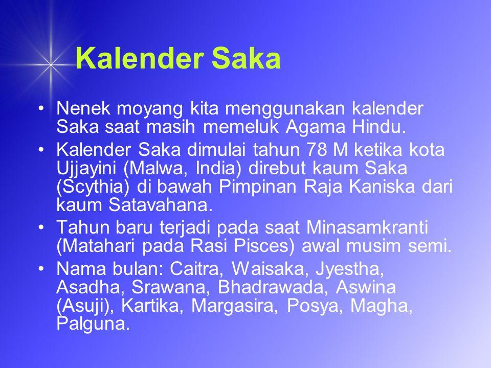 Kalender Saka Nenek moyang kita menggunakan kalender Saka saat masih memeluk Agama Hindu. Kalender Saka dimulai tahun 78 M ketika kota Ujjayini (Malwa