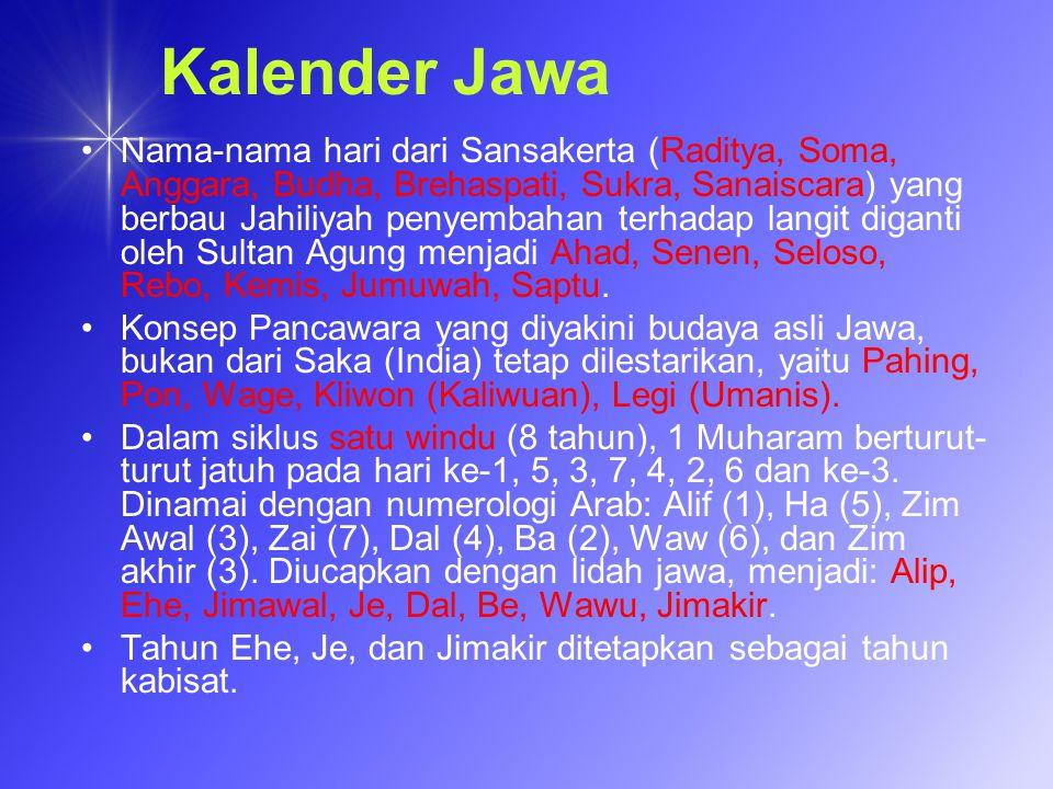Kalender Jawa Nama-nama hari dari Sansakerta (Raditya, Soma, Anggara, Budha, Brehaspati, Sukra, Sanaiscara) yang berbau Jahiliyah penyembahan terhadap