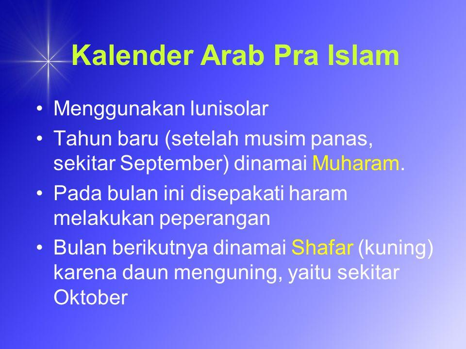Kalender Jawa Nama-nama bulan disesuaikan dengan lidah orang Jawa: Muharam, Sapar, Robingulawal, Robingulakir, Jumadilawal, Jumadilakir, Rejeb, Saban, Ramelan, Sawal, Dzulkangidah, Dulkijah.