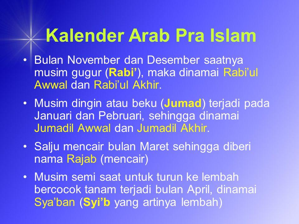 Kalender Arab Pra Islam Bulan November dan Desember saatnya musim gugur (Rabi), maka dinamai Rabiul Awwal dan Rabiul Akhir. Musim dingin atau beku (Ju